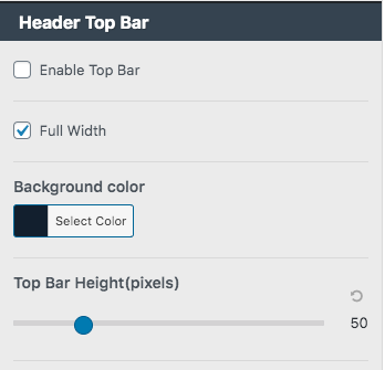 customize header top bar gutenberg theme